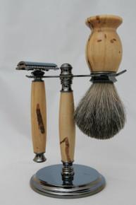 Brush, Razor & Stand Stabilized Spalted Tamarind gm2