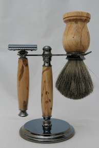 Brush, Razor & Stand Stabilized Spalted Tamarind gm3