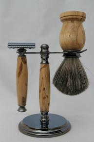 Brush, Razor & Stand Stabilized Spalted Tamarind gm3