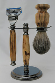 Brush, Razor & Stand Stabilized Spalted Tamarind gm4