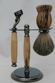 Brush, Razor & Stand Stabilized Spalted Tamarind gm5