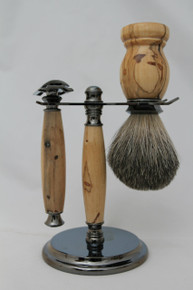 Brush, Razor & Stand Stabilized Spalted Tamarind gm7
