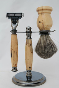 Brush, Razor & Stand Stabilized Spalted Tamarind gm9