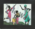 Women dancing and playing drum (8x10)