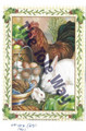 Rooster and bunnies w/eggs  (5x7)