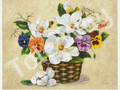 Pansies and Magnolia in Basket by Reina (8x10)