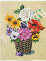 Pansies and White Rose in Basket by Reina (8x10)
