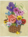 Pansies and Peach Rose in Basket by Reina (9x11)