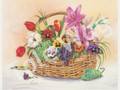 Basket of Florals with Green Grapes (8x10)