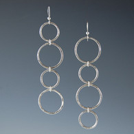 """Cascade"" Silver Circle Earrings"
