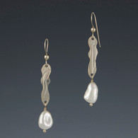 "Textured Silver ""Ripple"" Earrings with Freshwater Pearl"