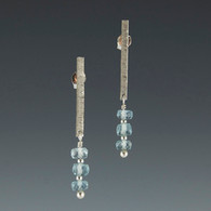 Silver Bar & Triple Rondelle Gemstone Drops