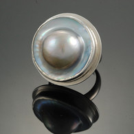 Blister Pearl Ring in Silver