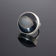 Black Quartz Drusy Ring