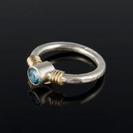Blue Topaz on Narrow Hammered Silver Band
