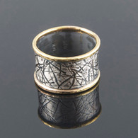 """Two by Two"" Oxidized Silver & 14kt Ring"