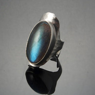 Labradorite Hammered Silver Ring