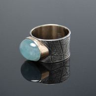 Aquamarine in 18kt Gold and Oxidized Silver