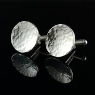 Hammered Round Silver Cufflinks