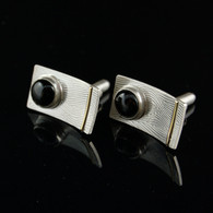 Black Star Diopside Textured Silver Cufflinks