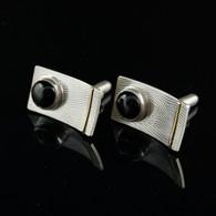 Black Star Diopside Textured Silver Cufflinks