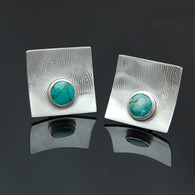 Turquoise and Silver Cufflinks