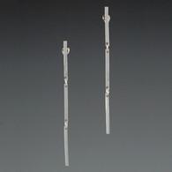 Articulated Triple-Bar Silver Earrings