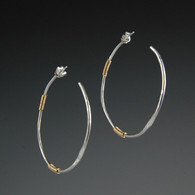 Hoops - Hammered Silver and Gold-Fill (large)