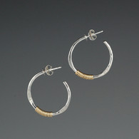 Hoops - Hammered Silver and Gold-Fill (small)