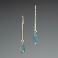 Silver Bar & Labradorite Earrings