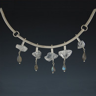 Articulated Silver Collar with Quartz & Labradorite Drops