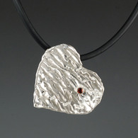 """Ripples"" Silver Heart with Garnet"