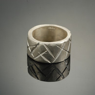 Chisel Cut Silver Band, Wide