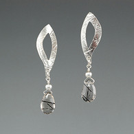 """Leaf"" Silver Earring with Tourmelated Quartz"
