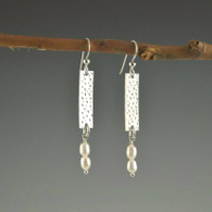 """Silver """"dapped"""" Rectangle with Double Pearl Drop"""