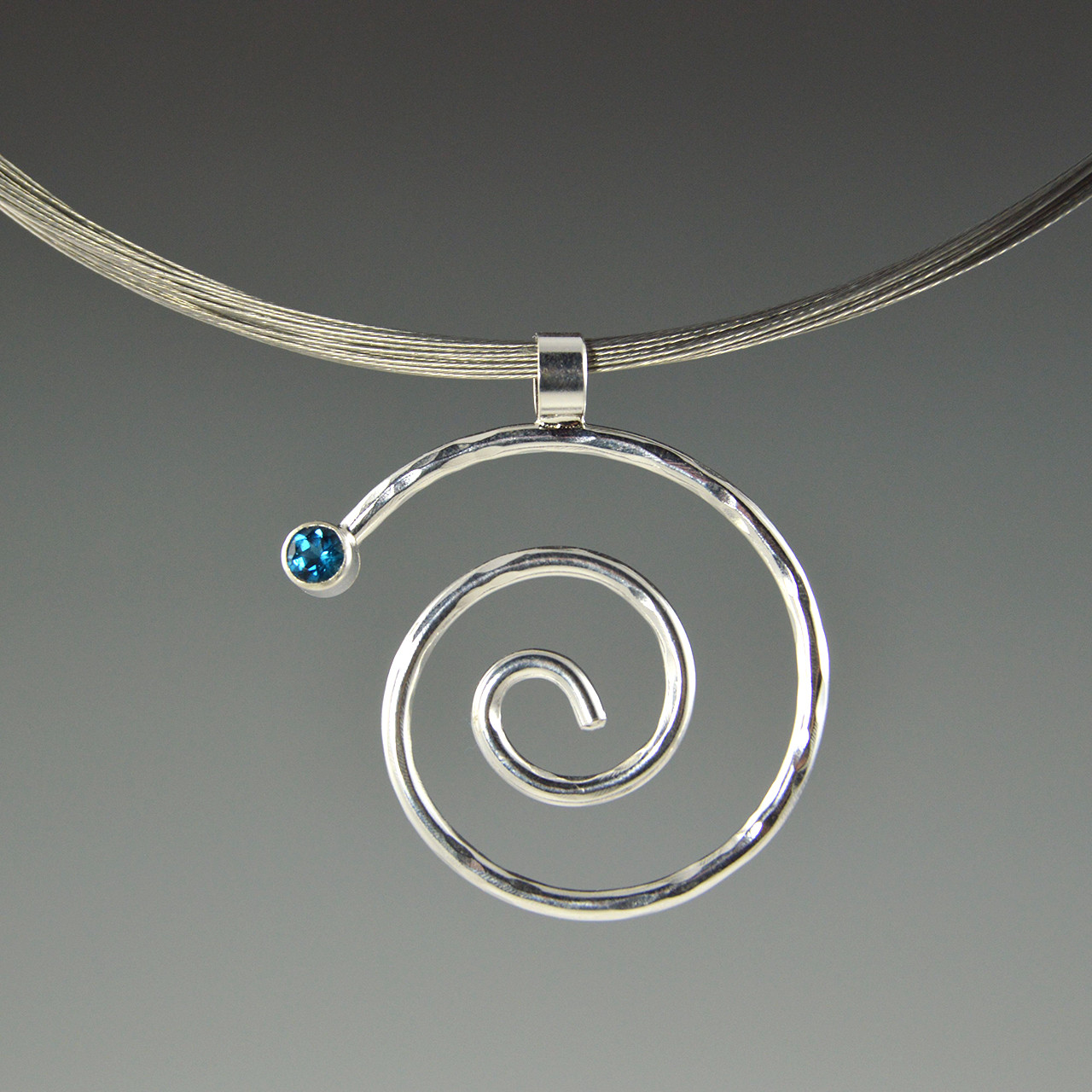 Spiral Pendant with Blue Topaz