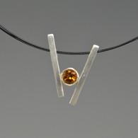 """V"" Silver Pendant with Gemstone"