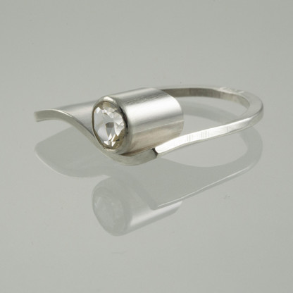 Double Curve Sterling Ring with White Topaz