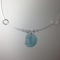 Aquamarine Nugget, sterling collar