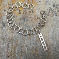 Linked Silver Bracelet with Morse Code Charm