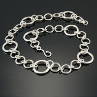 """Three Two One"" Hammered Silver Chain"