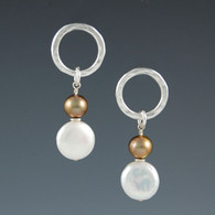 """Post Circle"" Hammered Silver Circle Earrings with Pearls"