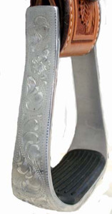 Aluminum Engraved Stirrup with 2 inch Rubber Tread
