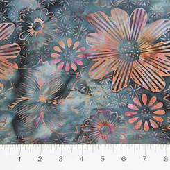 Ikat Sketch - Blue Flora - Banyan Batiks/Northcott fabrics