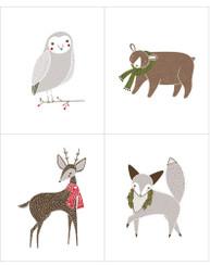 Merriment Lg Christmas Critters Panel 48270-11 - Moda fabrics