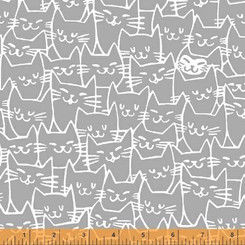 Cat Happy Grey - Windham fabrics