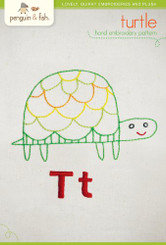 Turtle Embroidery Pattern - Penguin & Fish