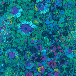 Navy Painterly Petals - Robert Kaufman fabrics