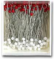 Clover's Silk Pins with Glass Heads  Excellent for light weight fabrics, will not leave pin marks.  The heads are made of glass and will not melt with an iron.  100 in the box.