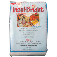 InsulBright is an insulating thermal lining.  It will keep food hot and will reflect away heat from sources such  as oven mitts, hot pads and irons.  Machine wash and Dry Finished Projects.  Easy to Sew.  Not intended for Microwave use.  1 yard by 45 inches packaged.